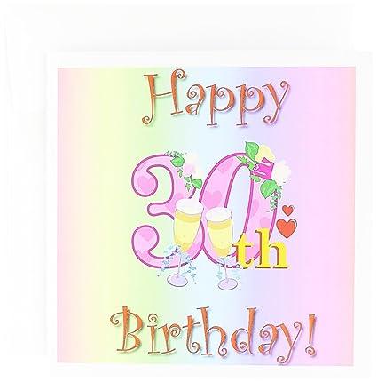 Amazon happy 30th birthday with rainbow background greeting happy 30th birthday with rainbow background greeting card 6 x 6 inches single m4hsunfo
