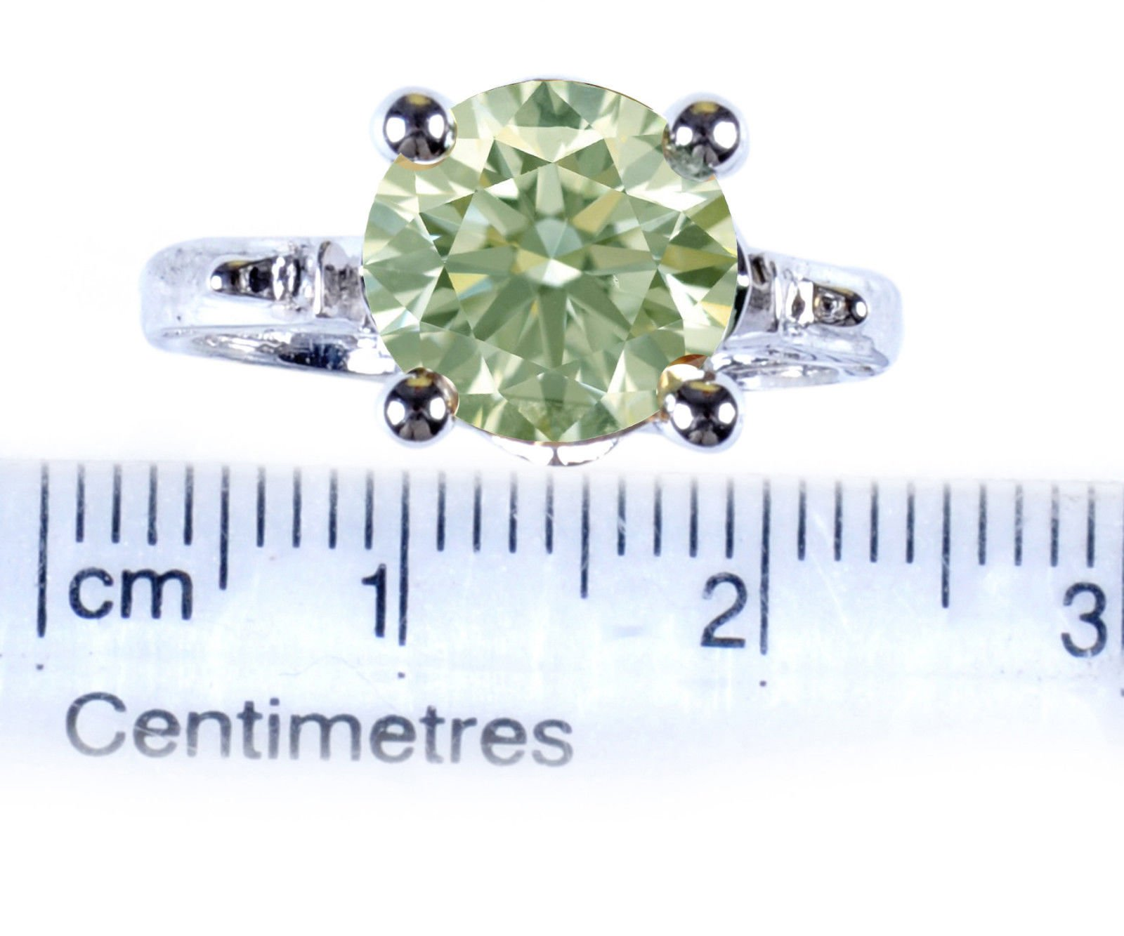 RINGJEWEL 2.78 ct VS1 Round Silver Plated Moissanite Engagement Ring Off White Light Green Color Size 7 by RINGJEWEL (Image #2)