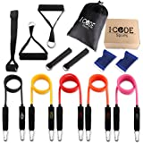 iCode Sports Resistance Band Set with Door Anchor, Handles, Ankle Strap, and Wrist Support Perfect for Fitness Gym Exercise Training