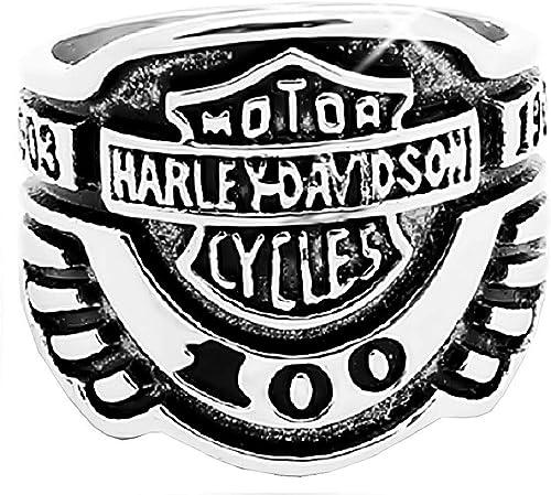 EVRYLON Anillo de Motociclista para Hombre Escrito Motocicleta Harley Davidson Punk