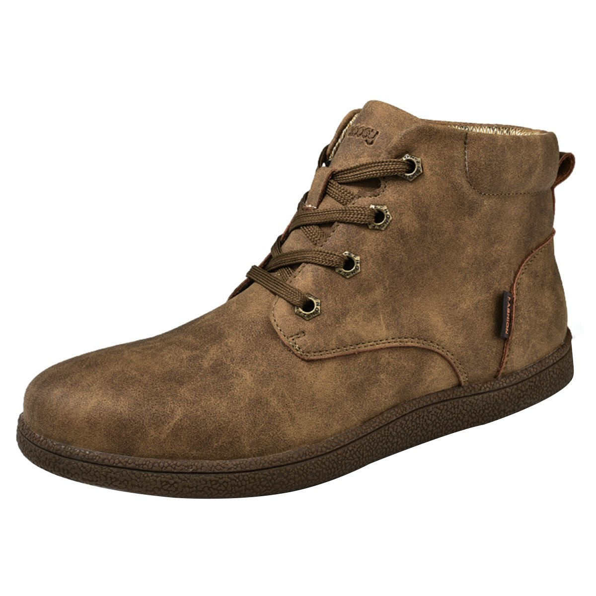 gracosy Martin Boots for Men, Men's Fashion Leather Lace up Boots Winter Cotton Lining Shoes Waterproof Boots Khaki Tag 45