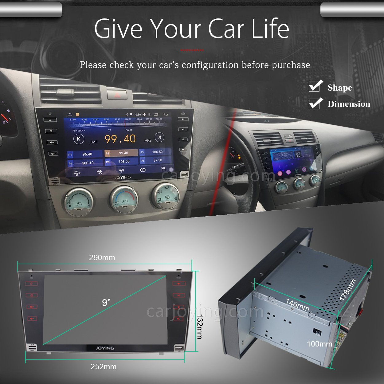 Amazon com joying for toyota camry stereo android 6 0 2gb car radio 2 double din gps navi navigation 9 big touch screen car receiver bluetooth head unit