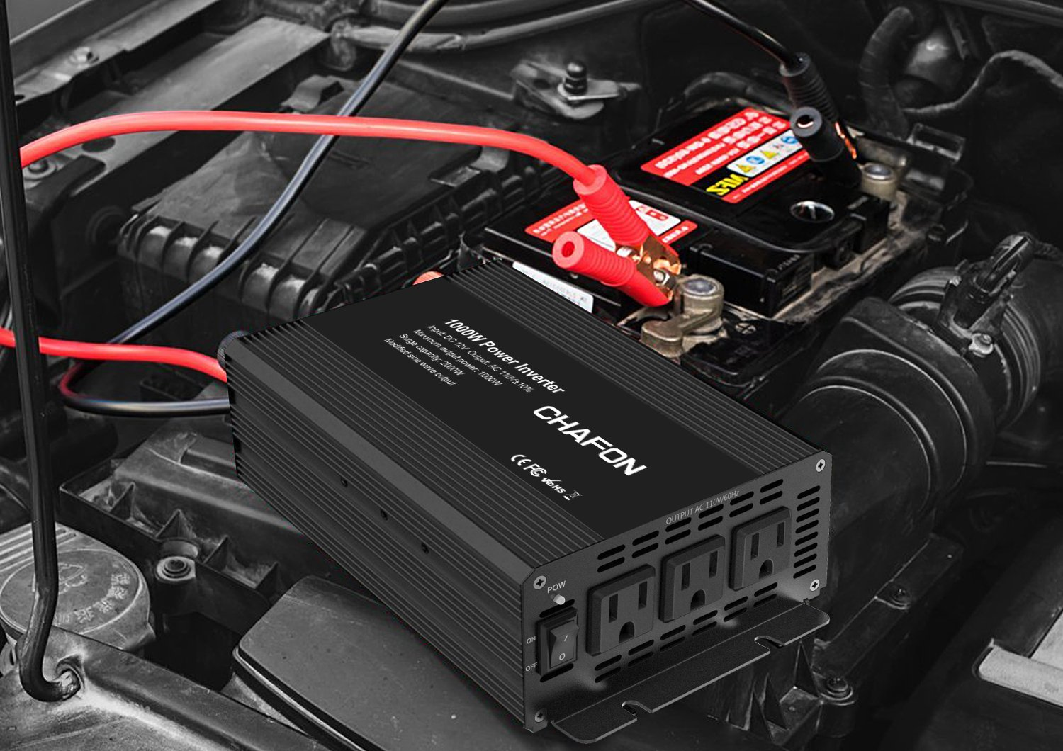 Chafon 1000W Power Inverter DC 12V to 110V with 3 AC Outlets Car Inverter for Household Appliances, RV Solar Kit in case Emergency, Outage and Hurricane - Black by CHAFON (Image #7)