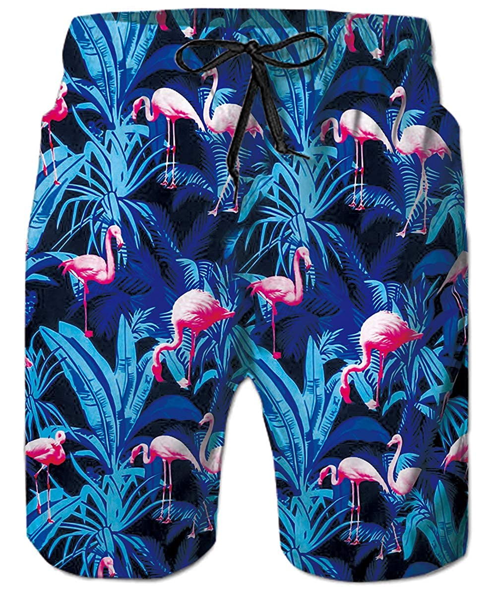 Colorful Flamingo Mens Board Shorts Swim Mesh Lining and Side Pocket