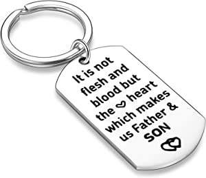 Stepdad Gifts from Stepdaughter Stepson Step Dad Keychain Key Tags Father's Day Gifts for Stepfather Father in Law from Daughter Son (The Heart Which Makes Us Father & Son)
