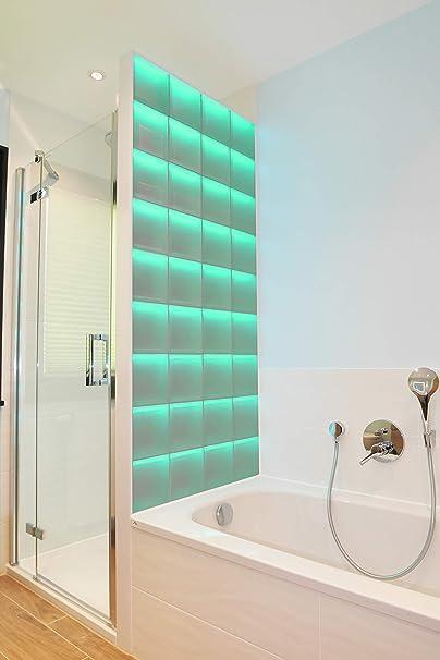 LMW Light My Wall pinzette pared de ladrillo de vidrio en forma de ladrillos de vidrio en el formato 19 x 8 cm tamaño total: b 117,0 x B 214,5 cm: Amazon.es: