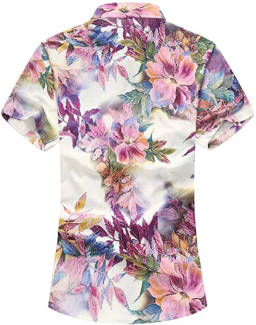 Wofupowga Men Button Down Printed Comfort Short Sleeve Casual Shirts