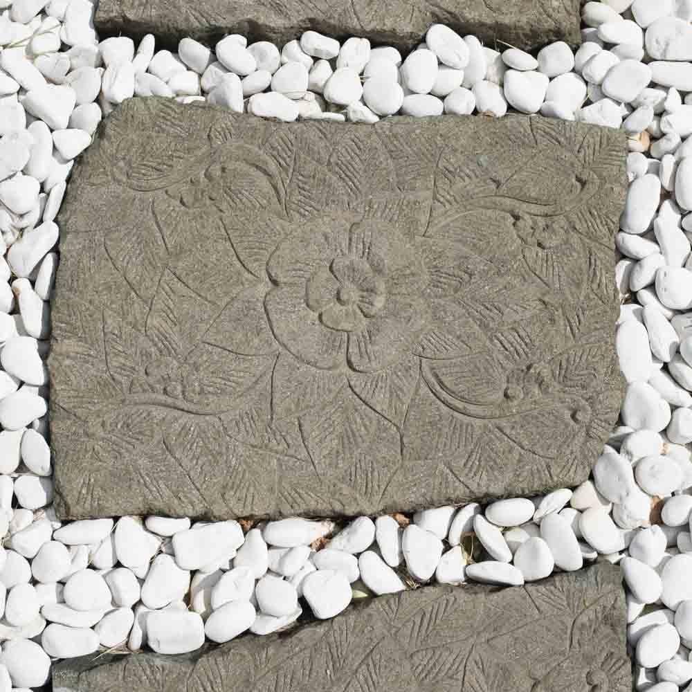 Wanda collection 2 Pasos japoneses de Piedra volcánica esculpida Flor 60 x 50 cm: Amazon.es: Jardín