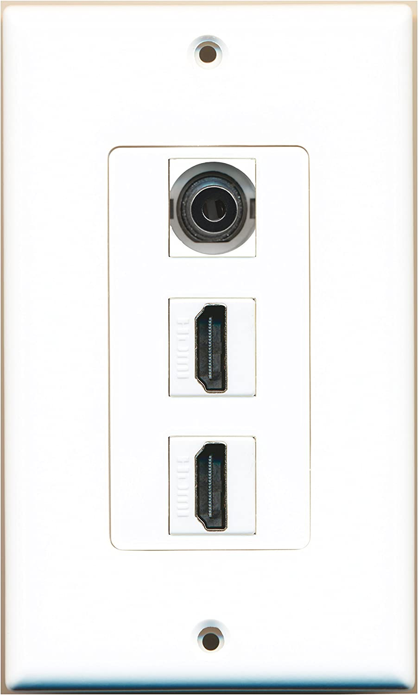 RiteAV 1 3.5mm Audio//Headphone Jack and 2 HDMI Port Wall Plate Decorative