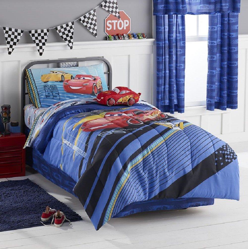 Disney Pixar Cars 3 Twin 4 Pc Bedding Set Reversible Comforter and 3 Pc Sheet Set