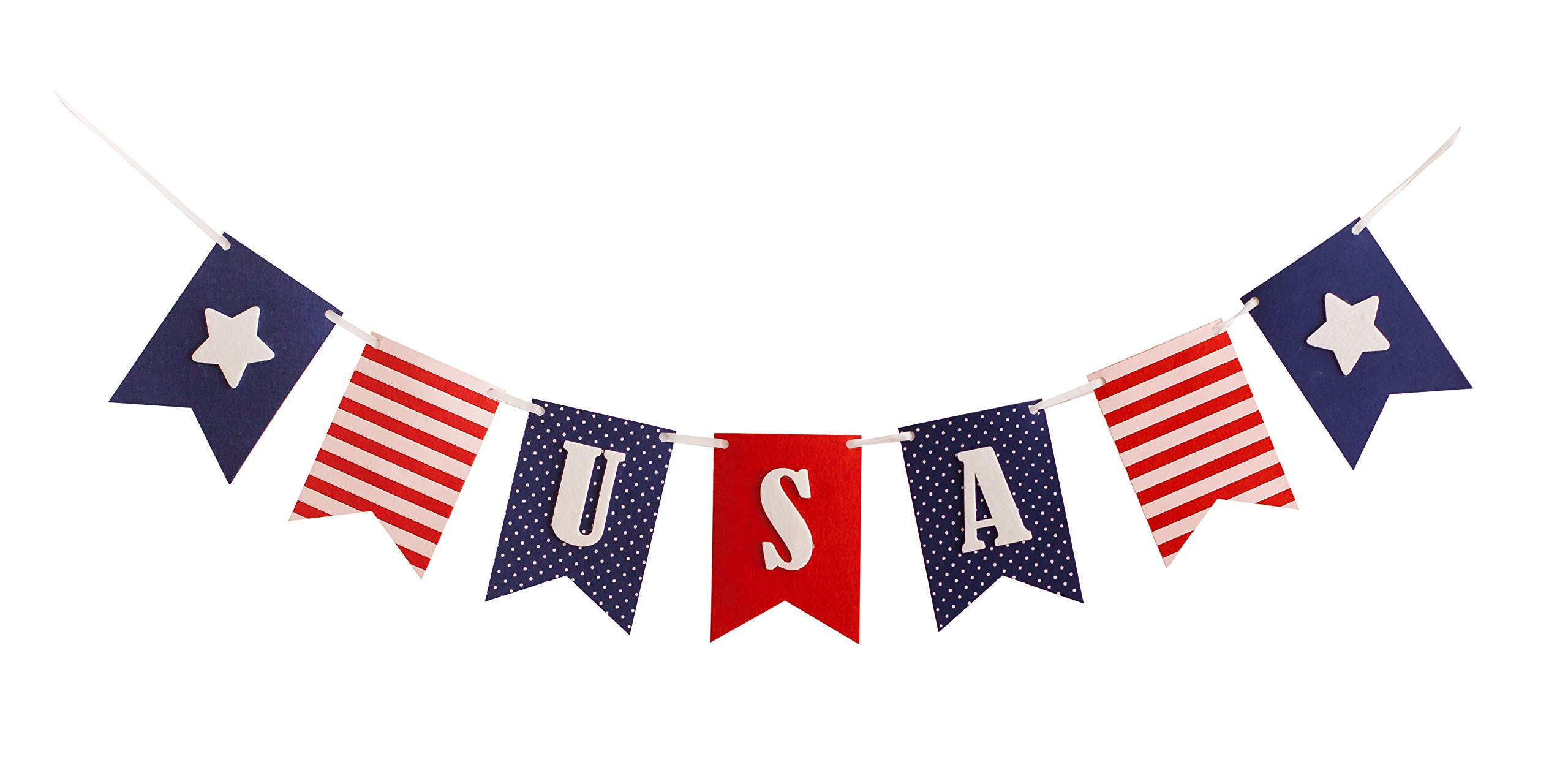 USA Banner Bunting Laser Cut Felt 40 inches wide - Patriotic Americana Red, White, & Blue America! by Decomod (Image #1)