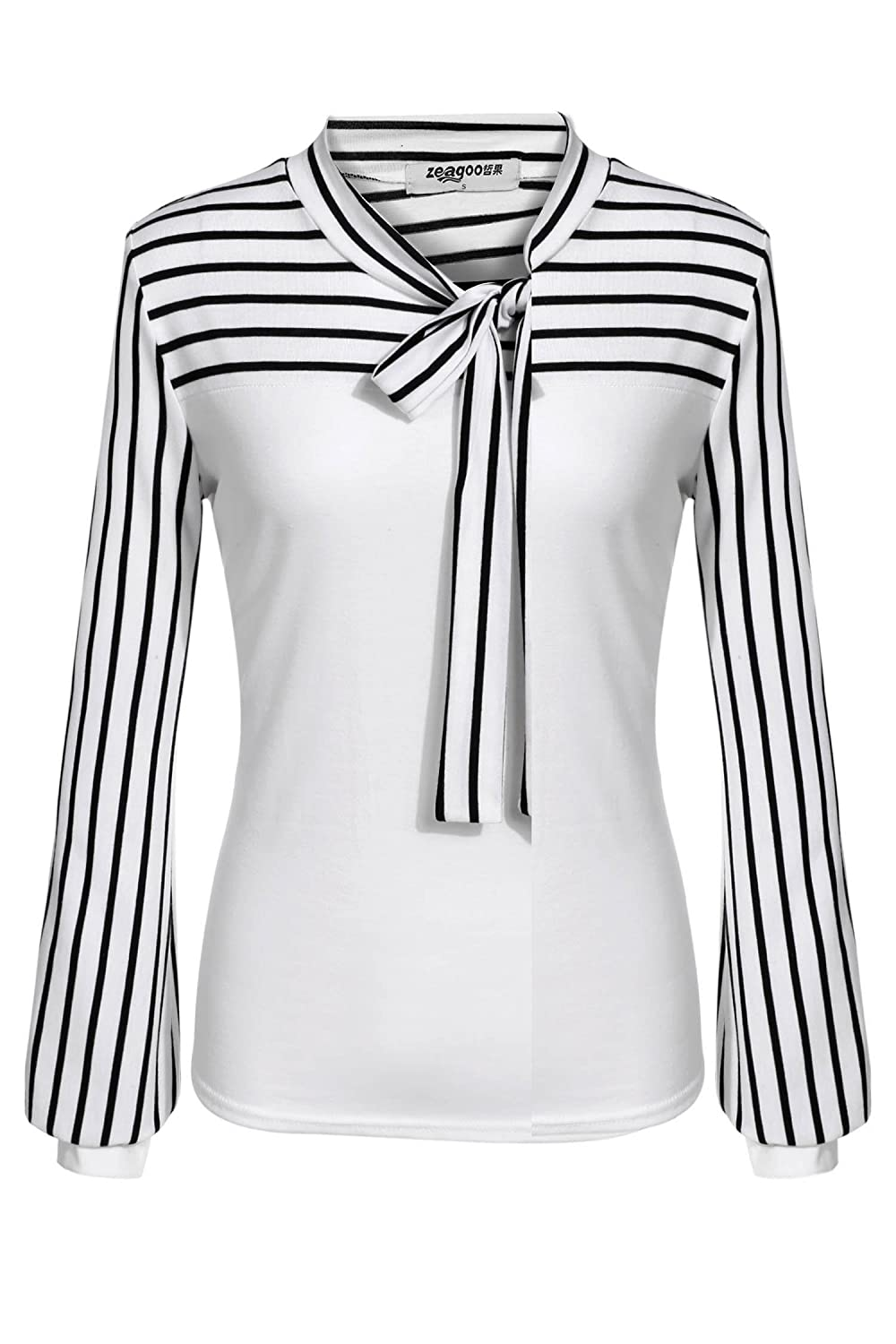 Zeagoo Ladies Tie-bow Neck Striped Long Sleeve Splicing Autumn Shirt