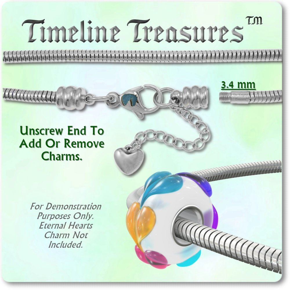 Timeline Treasures European Charm Bracelet For Women and Girls Bead Charms, Stainless Steel Snake Chain, Claw 7.5 Inch by Timeline Treasures (Image #4)
