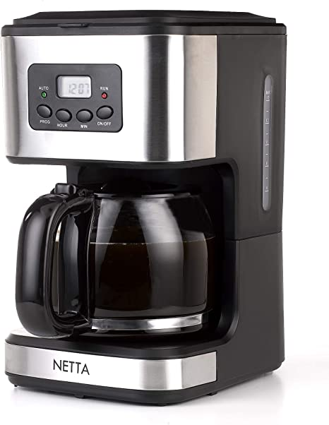 Netta 15 Litres Filter Coffee Machine 12 Cup Programmable Coffee Makers Clocktimer Coffee Percolator Anti Drip System Permanent Reusable Filter