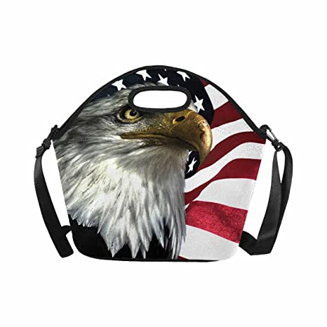 2d5d02b66b8e Amazon.com: InterestPrint Lunch Bag East Eagle on American Flag ...