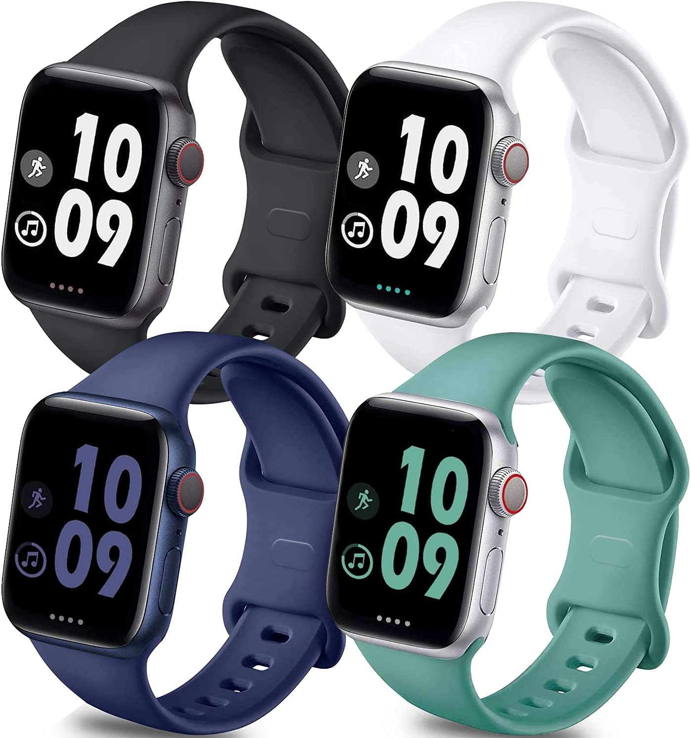 Brigtlaiff Pack 4 Compatible with Watch Band 38mm 40mm 42mm 44mm, Soft Silicone Replacement Band for Watch Series SE/6/5/4/3/2/1 (Black/White/MidnightBlue/PineGreen, 38mm/40mm-M/L)