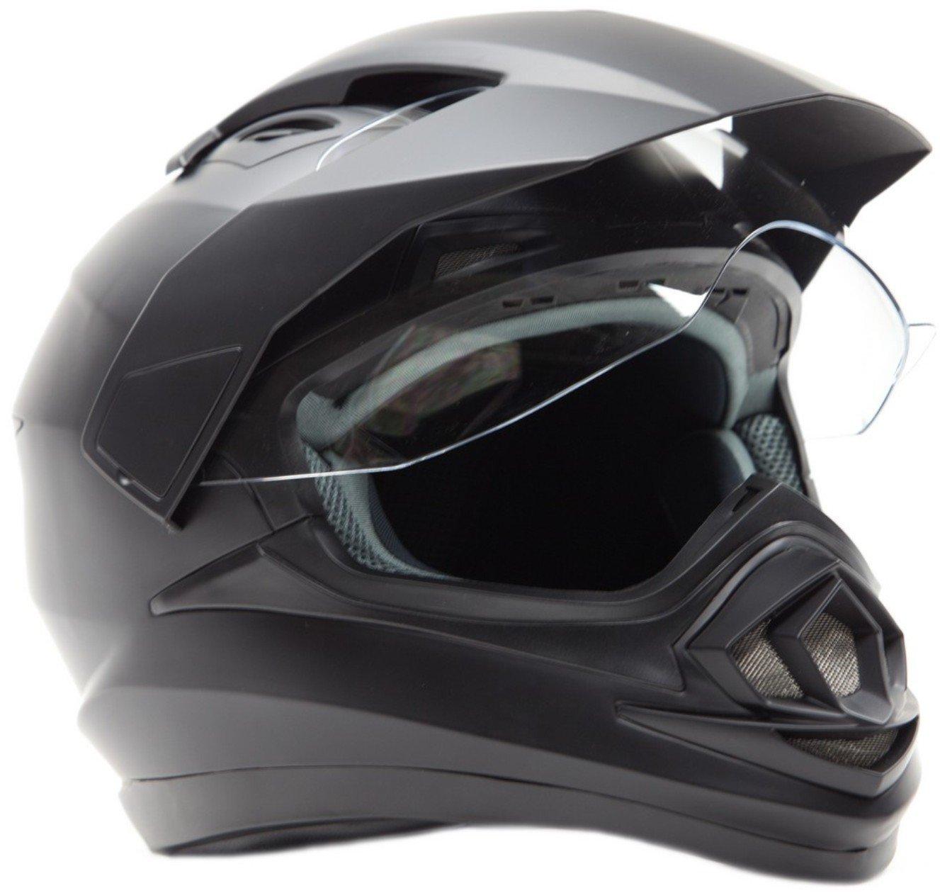 Dual Sport Snocross Snowmobile Helmet w/ Electric Heated Shield - Matte Black - XL by Typhoon Helmets (Image #1)