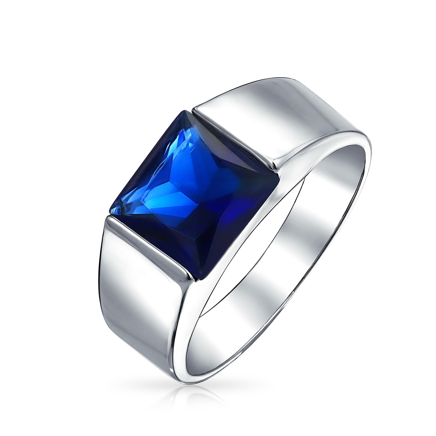 Bling Jewelry Simulated Sapphire Engagement Ring for Men Rhodium Plated MY-BMR-60229BL