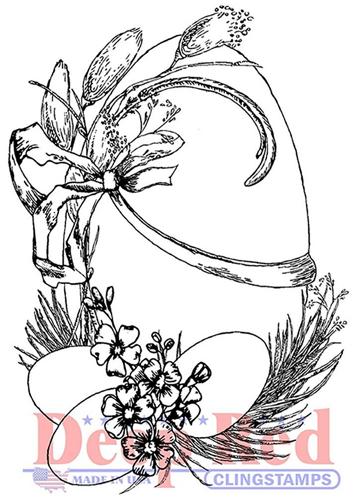 One Line Happy Easter Cling Rubber Stamp by DRS Designs