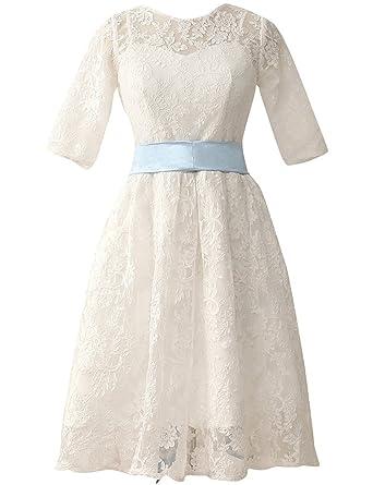 JAEDEN Halbarm Brautkleider Damen Kurz Spitze Hochzeitskleid mit ...