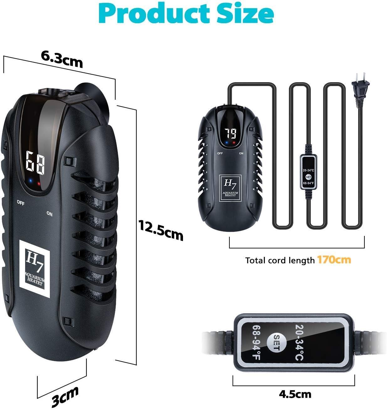 PGFUNNY - Calentador de Acuario, Pantalla Digital LED Ajustable, termostato Inteligente Betta Fish Heater, para 3 a 50 galones Betta Tank Calentador con Protector Protector: Amazon.es: Productos para mascotas