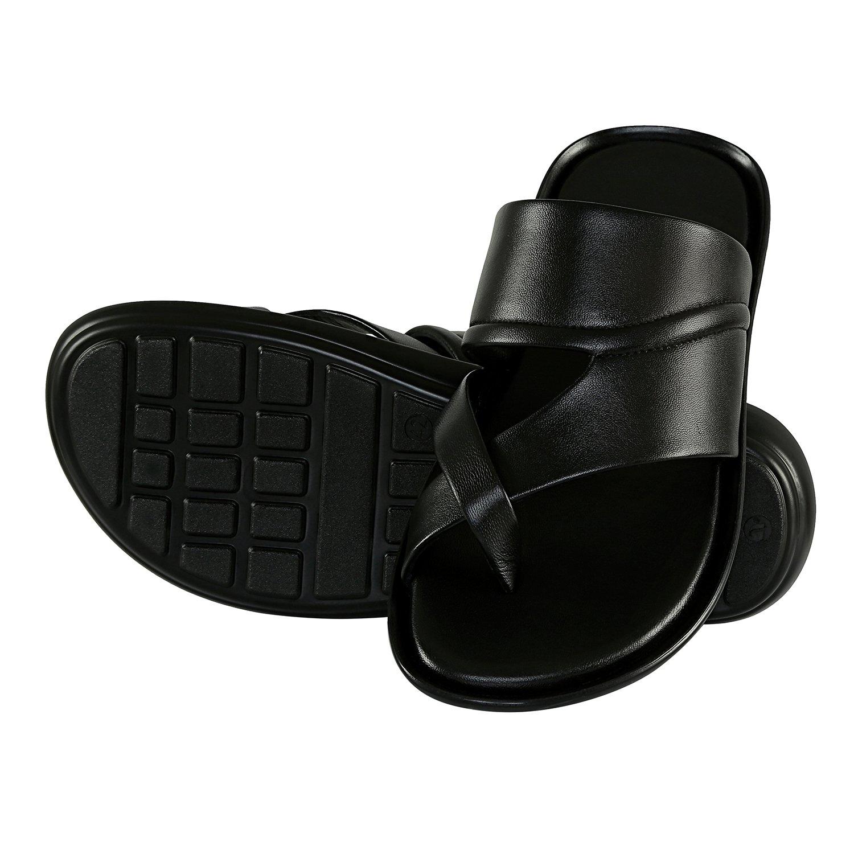 Buy Shoe Bazar Black Leather Slippers