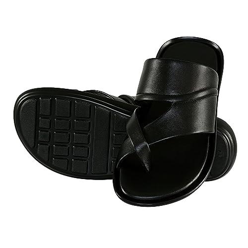 86c794e6a609 Shoe Bazar Black Leather Slippers for Men(sb-9413-black-9)  Buy ...