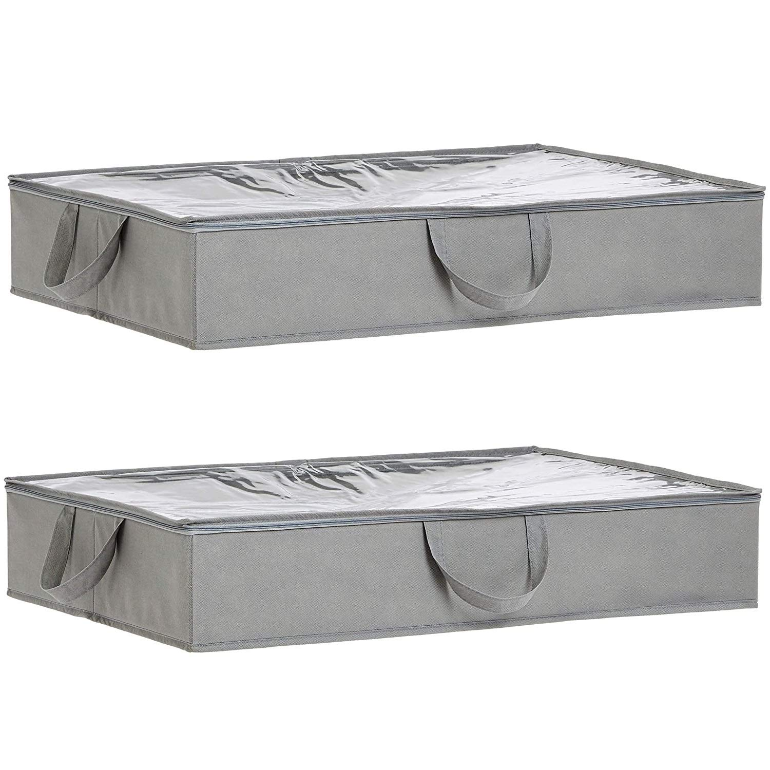 Amazon Basics Fabric Under Bed Storage Bag Organzier with Handles, Set of 2