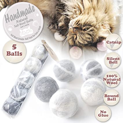 BALLMIE Felt Wool Cat Toys Ball with Catnip and Bell, Natural Handmade cat Toys Ferret