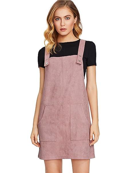 b4ddca88355 MakeMeChic Women s Bid Strap Pocket Dungaree Mini Overall Dress Pink   XS
