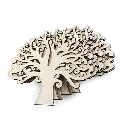 Amazon Com Ueetek 10pcs Family Tree Wood Cutout Blank Wooden