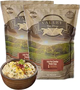 Valley Food Storage Freeze Dried Meals for Lunch and Dinner (5 Servings of Irish Pub Cheddar Potato Soup), (Pack of 2) - Long Term Emergency Food Supply