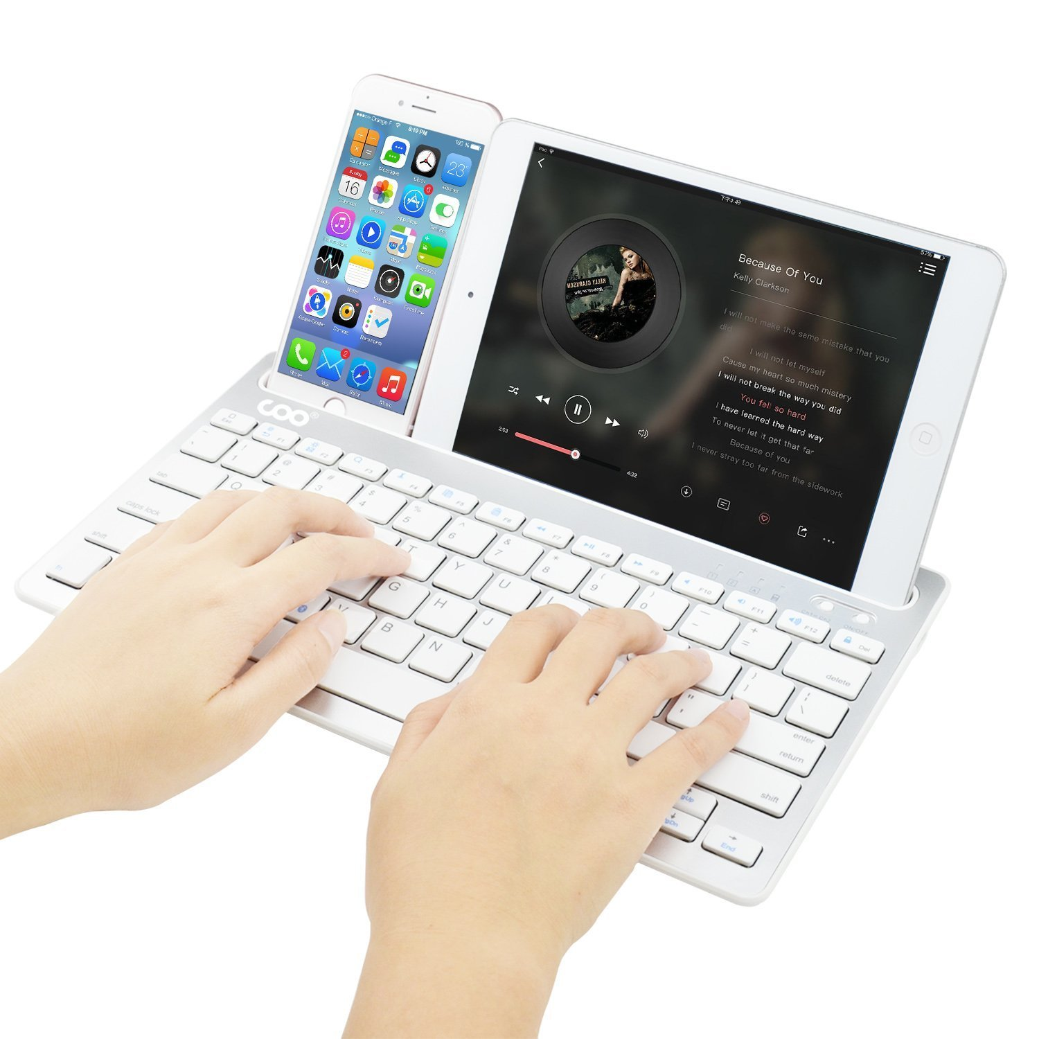 Bluetooth keyboard, Dual Channel Multi-device Universal Wireless Bluetooth Rechargeable Keyboard with Sturdy Stand for Tablet Smartphone PC Windows Android iOS Mac(Silver) by COO (Image #3)