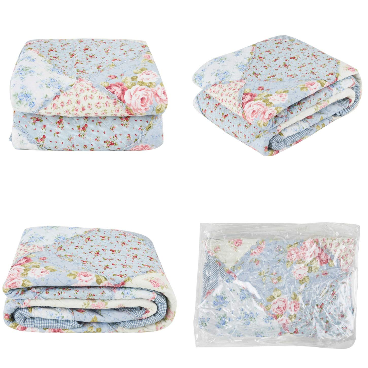 Unimall Patchwork Quilted Throws Blanket for Sofa Chair 150 x 200 cm Lightweight Soft Cotton Reversible Floral Printed Blue Quilted Bedspread Single Bed Cover for Living Room Bedrooms
