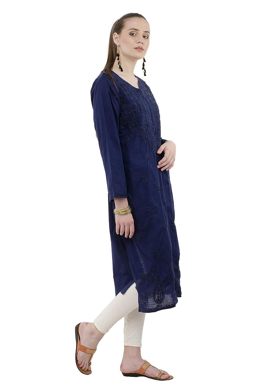 Aari Kurti dark green free and fast shipping New Women/'s Cotton Lucknowi Chikan