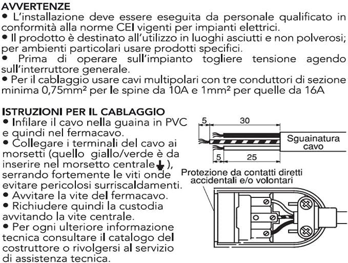 Nero Fermacavo Isolante a Vite Poly Pool Presa Bivalente 10//16A 2p+T Uscita Cavo Assiale