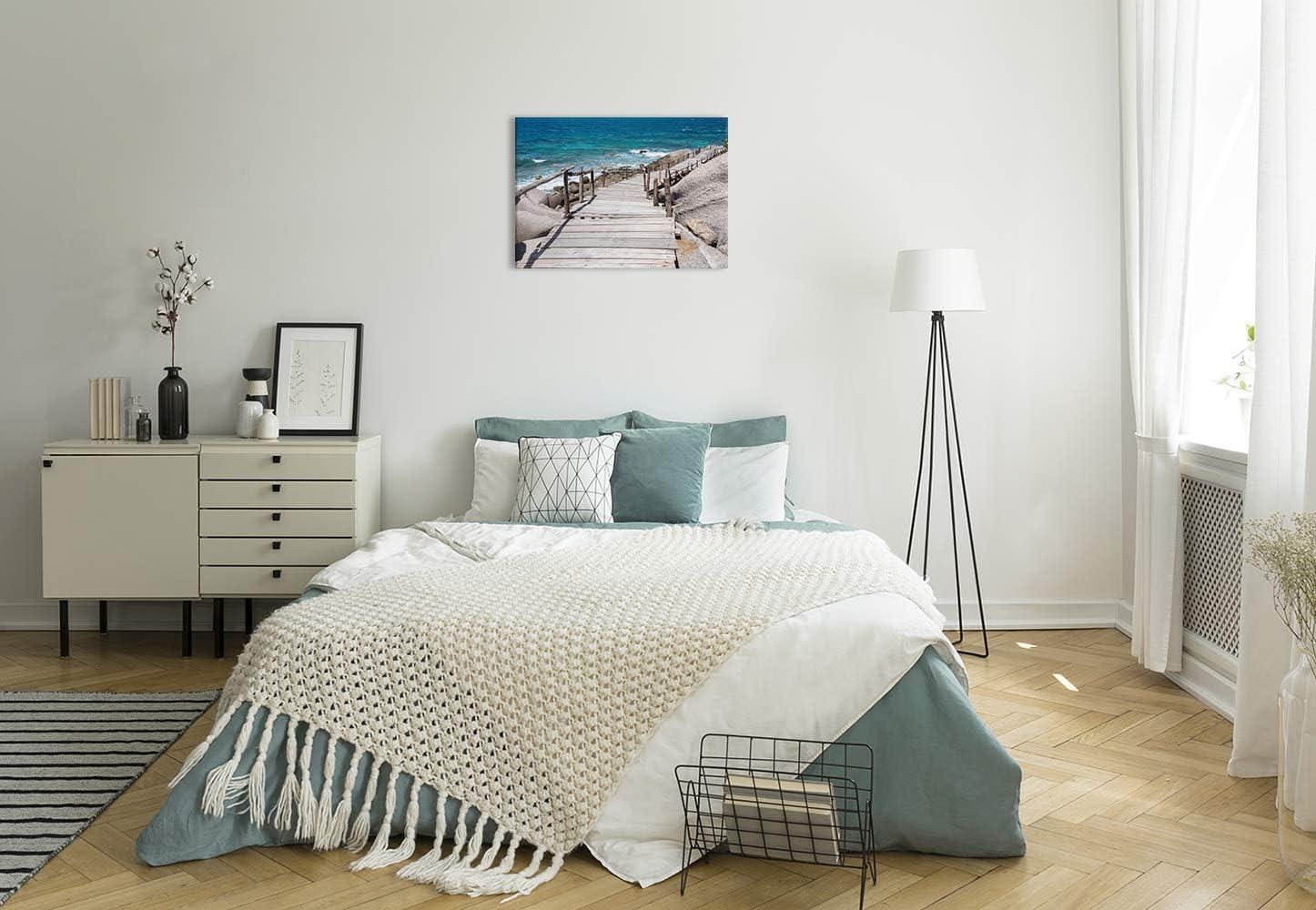 Taille: 40x30 cm Design D/écoration Murale Images sur Toile Impression Artistique Tableaux pour la Mur mer Pont Bleu Revolio