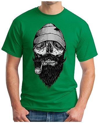 OM3 Fisherman-Skull - T-Shirt Bones Hipster Face Sailor Anchor Anker Ship  Dope