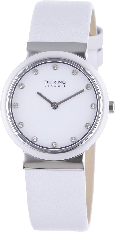 Bering Ceramic - Reloj analógico de mujer de cuarzo con correa de piel blanca - sumergible a 50 metros