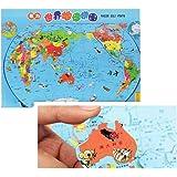 子供の面白い立体と磁性のある世界地図の木製パズル&チリの早期教育のジグソーパズルのおもちゃ