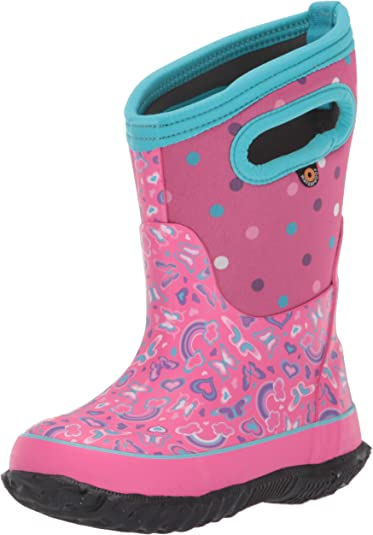 BOGS Unisex Child Classic High Waterproof Insulated Rubber Neoprene Snow Rain Boot Pink 1 Little Kid