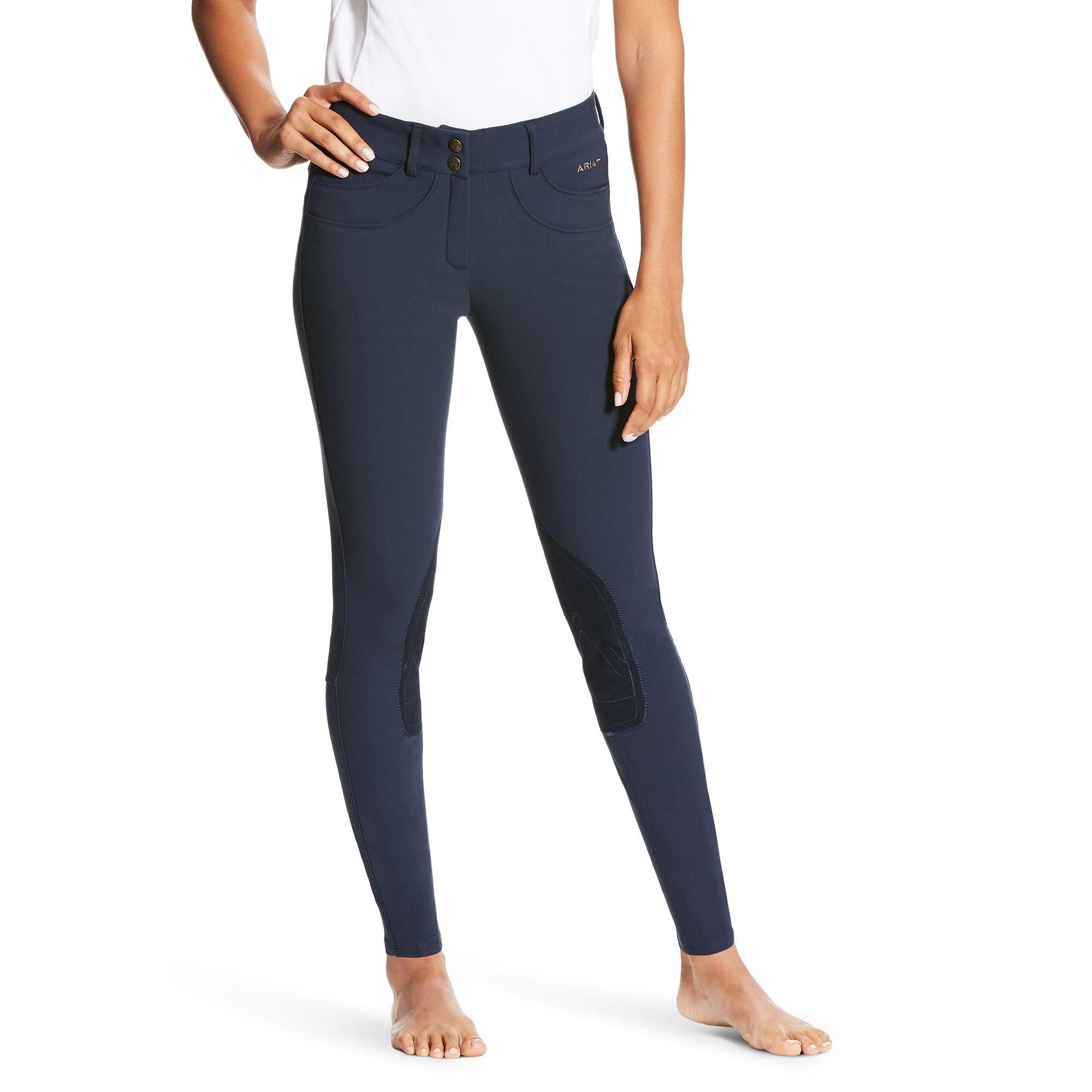 ARIAT Women's Olympia Low Rise Knee Patch Front Zip Knee Patch Breech Navy Size 24 Regular
