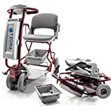 TZORA CLASSIC Lexis Light Folding Travel Scooter Red + CHALLENGER MOBILITY TM Accessories