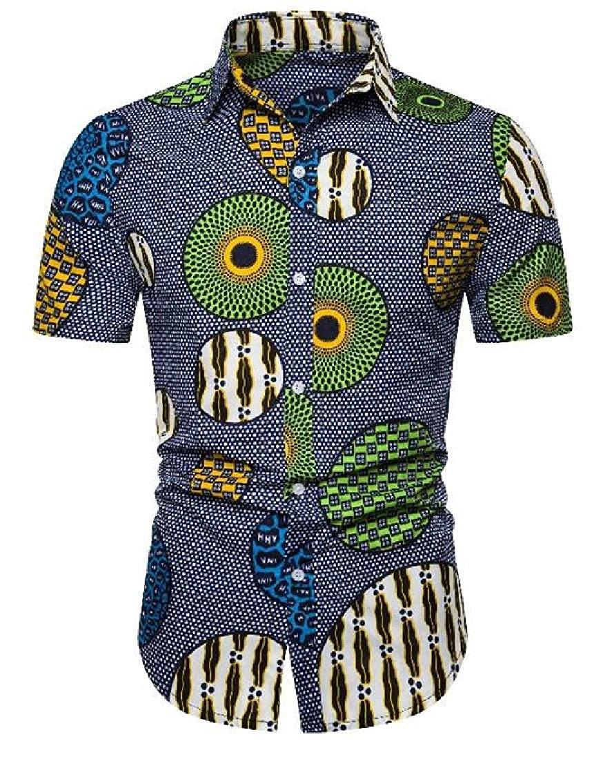 Zantt Men African Print Summer Relaxed Fit Short Sleeve Button Down Shirt