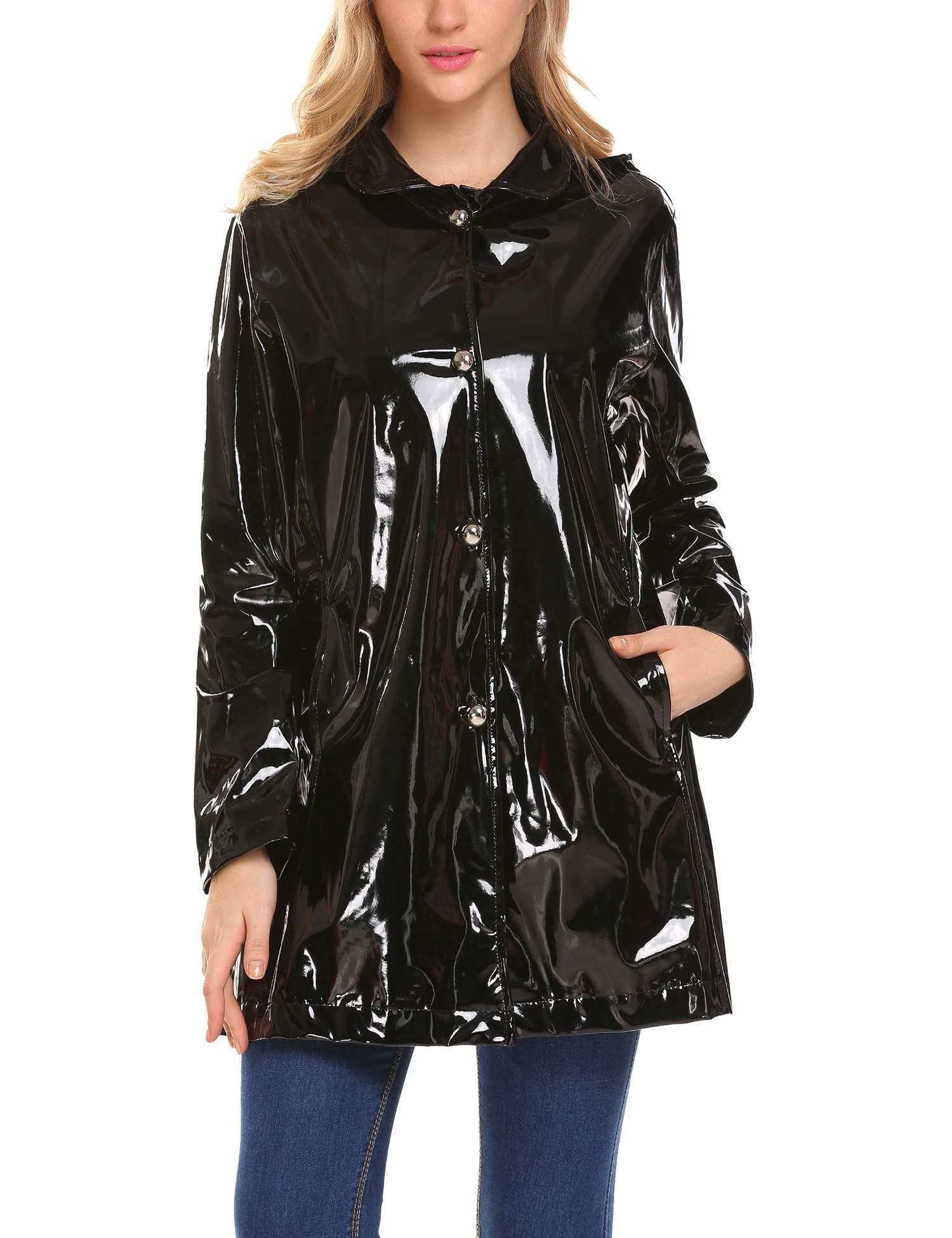 ELESOL Women's Packable Waterproof Rain Jacket Poncho Raincoat with Removable Hood Black/S