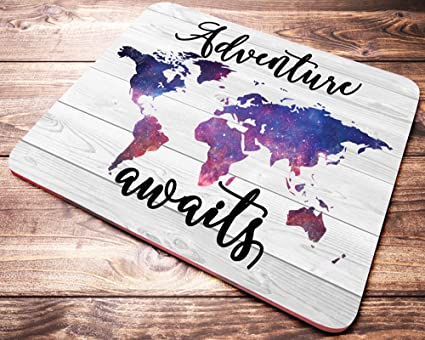 Amazon adventure awaits galaxy world map mouse pad quote adventure awaits galaxy world map mouse pad quote wanderlust mousepad desk accessories office gifts gumiabroncs Images