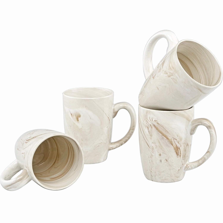 Culver 16-Ounce Palermo Ceramic Mug Set of 4 (White and Black Olive Marbleized) A94568-Black