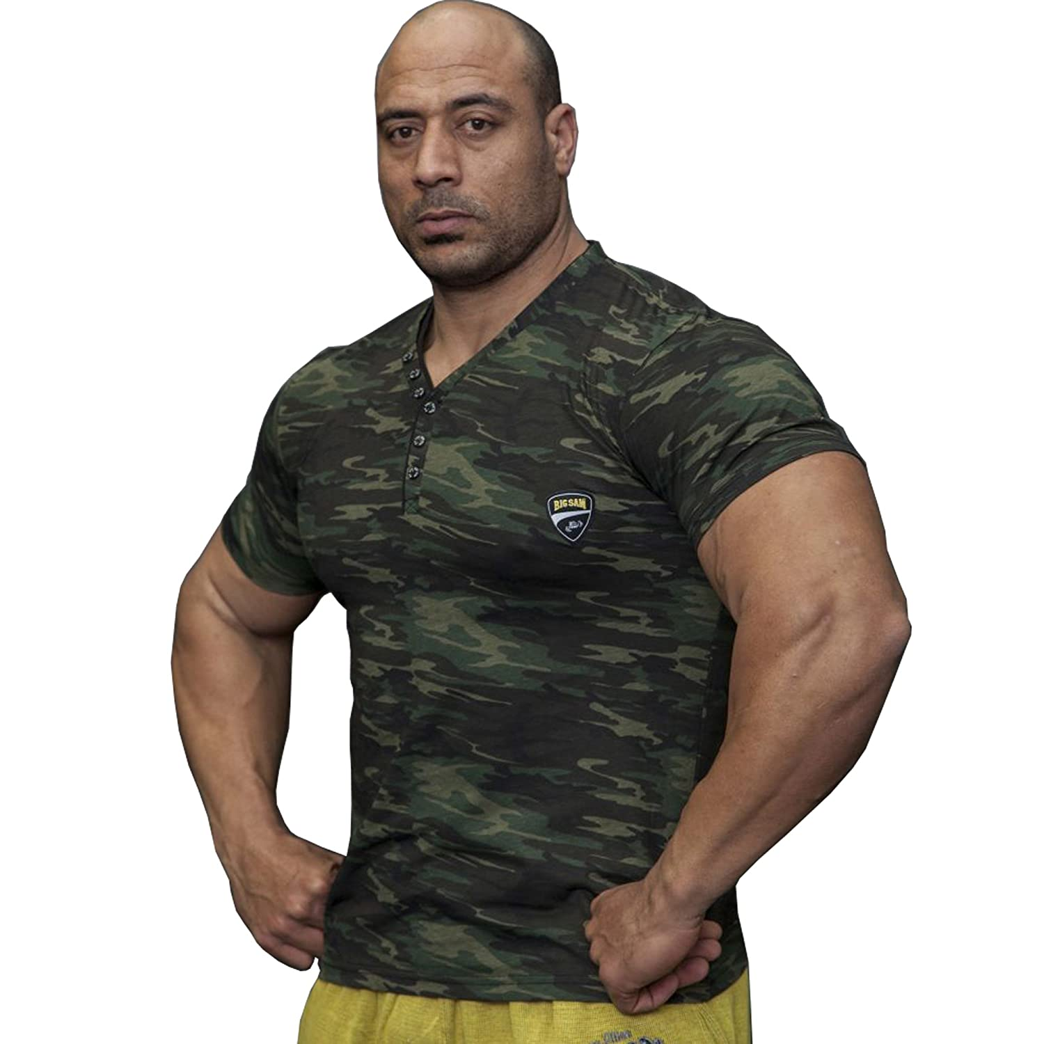 BIG SM EXTREME SPORTSWEAR Herren T-Shirt Stretch Shirt Bodybuilding Gym 2839