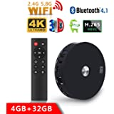 2018 Newest TV Box, SCS ETC R10 4GB +32GB Dual WIFI Bluetooth Android 7.1 TV Box, Streaming Media Player, Bluetooth 4.1 Smart TV Box Support Dual Channel Wifi 2T2R Connected 3D 4K HDR Video Playing