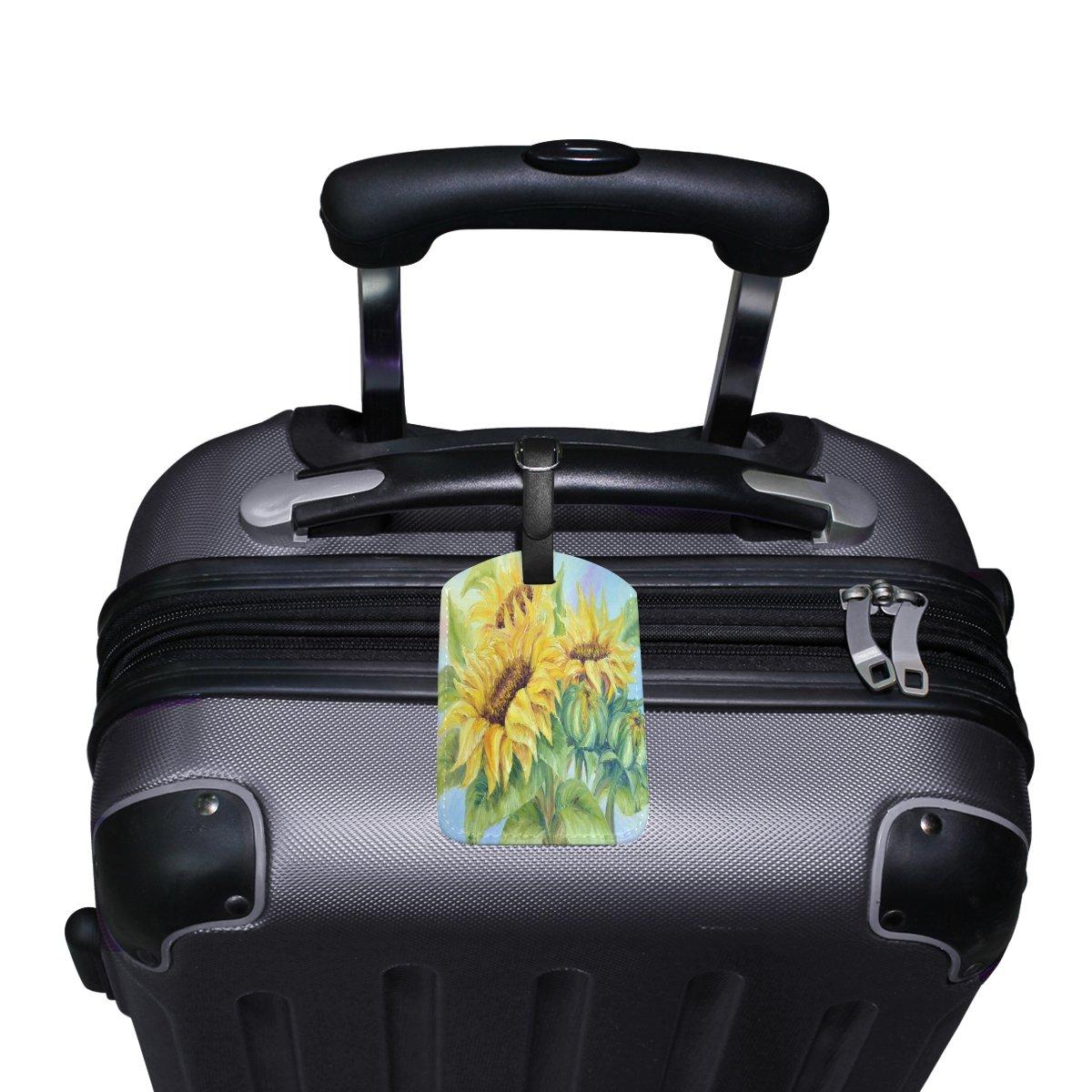 1Pcs Saobao Travel Luggage Tag Sunflower PU Leather Baggage Suitcase Travel ID Bag Tag